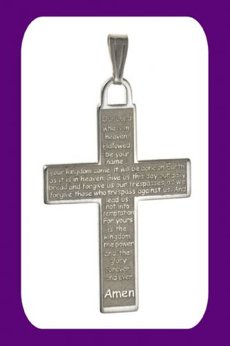 The Lords Prayer Cross Pendant Sterling Silver 925 Hallmark All Chain Lengths